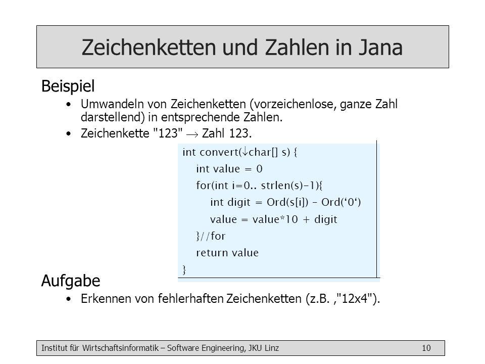 Institut für Wirtschaftsinformatik – Software Engineering, JKU Linz 11 Dezimal- und Binärdarstellung Frage Wie schaut die Binärdarstellung einer ganzen Zahl aus.