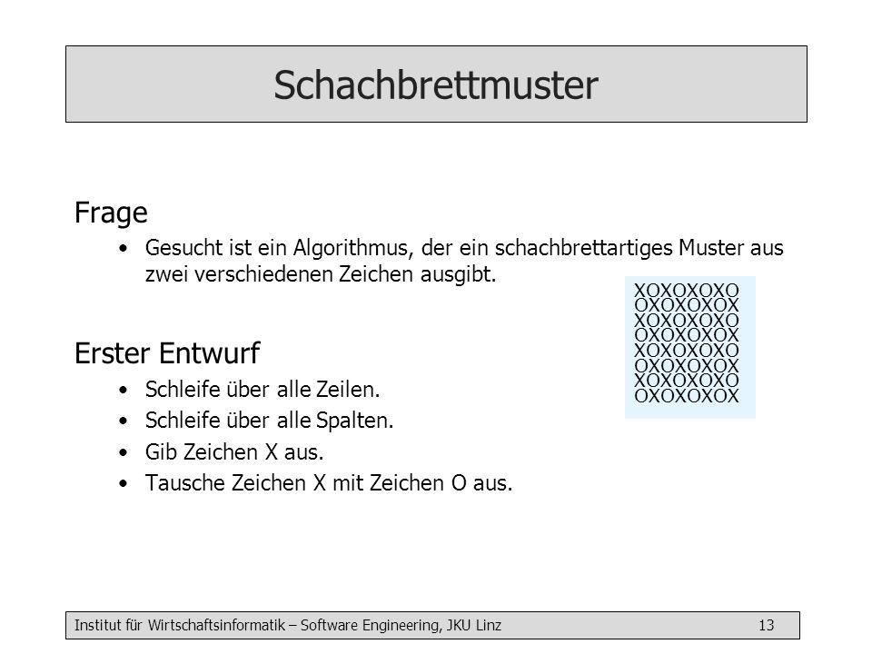Institut für Wirtschaftsinformatik – Software Engineering, JKU Linz 14 Schachbrettmuster Algorithmus in Jana chessBoard( int n) { for(int row=1..