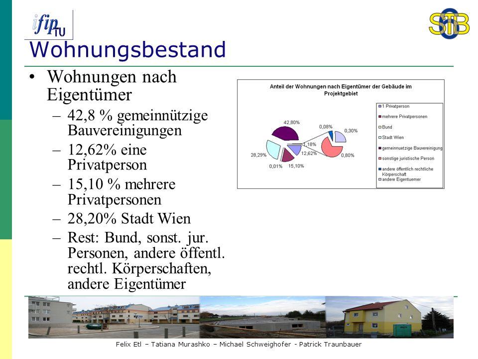 Felix Etl – Tatiana Murashko – Michael Schweighofer - Patrick Traunbauer Wohnungsbestand Wohnungsgrößen –Wohnungen mit 60 – 90 m² dominierend (~ 45%) –35 – 60m² und 90 – 130 m² Whg (~ 23%) –>35m² und >130m² Whg (~5%)