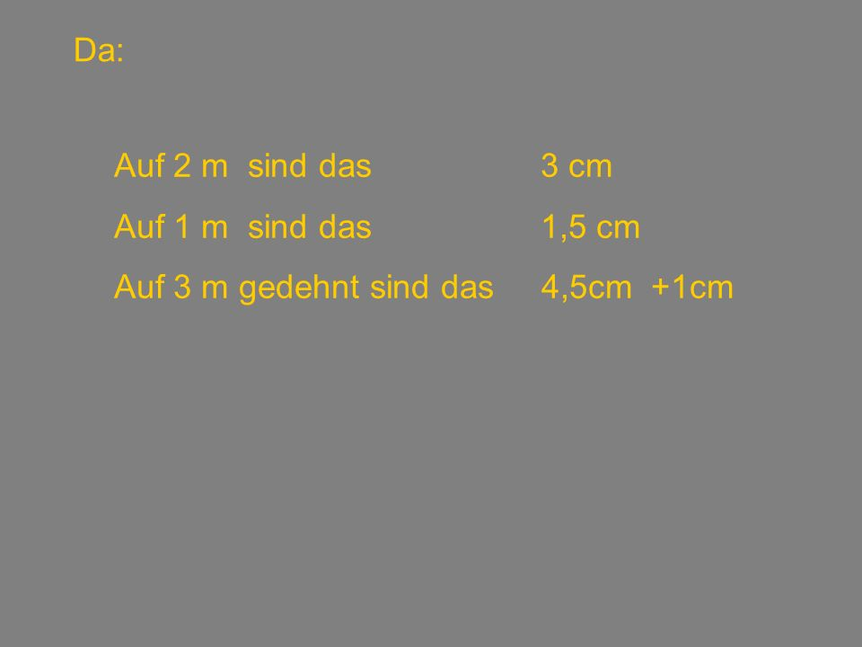 Das selbe Problem: Linke SeiteRechte Seite 1 cm100 – 1 = 99 3 cm200 – 3 = 197 5,5 cm300 – 5,5 = 294,5 8,333333…..cm400 – 8,3..=391,6….