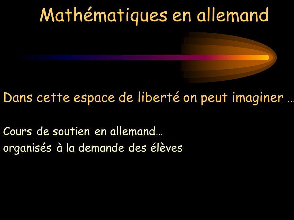 Mathématiques en allemand Dans cette espace de liberté on peut imaginer … Cours de soutien en allemand… organisés à la demande des élèves Révision du programme de collège en allemand