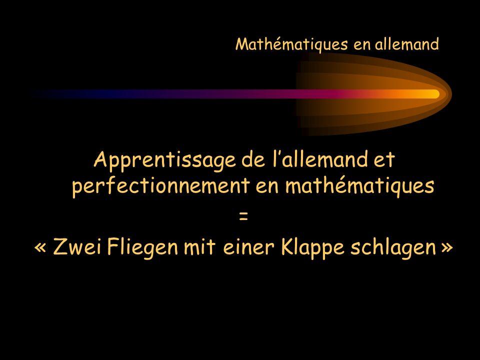 Mathématiques en allemand Apprentissage de lallemand et perfectionnement en mathématiques = « Zwei Fliegen mit einer Klappe schlagen » = Faire dune pierre deux coups