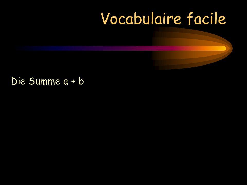 Vocabulaire facile Die Summe a + b« a plus b »