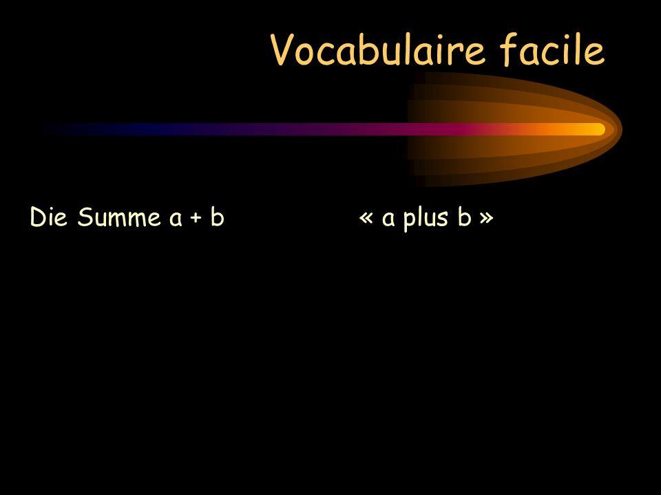 Vocabulaire facile Die Summe a + b« a plus b » Die Differenz a – b