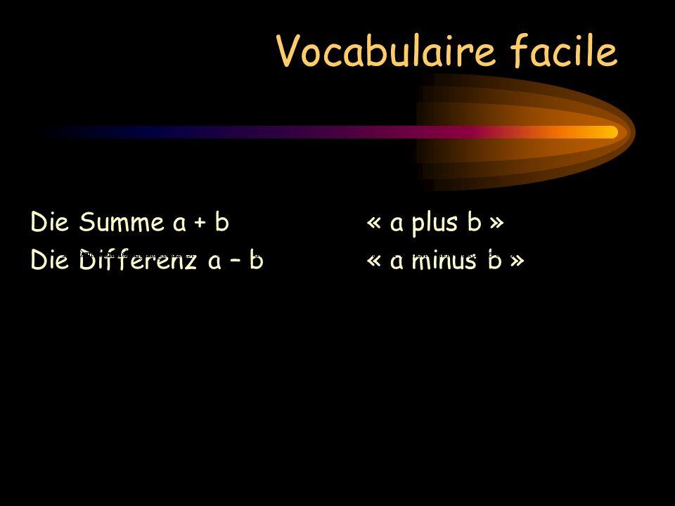 Vocabulaire facile Die Summe a + b« a plus b » Die Differenz a – b« a minus b » Das Produkt a b