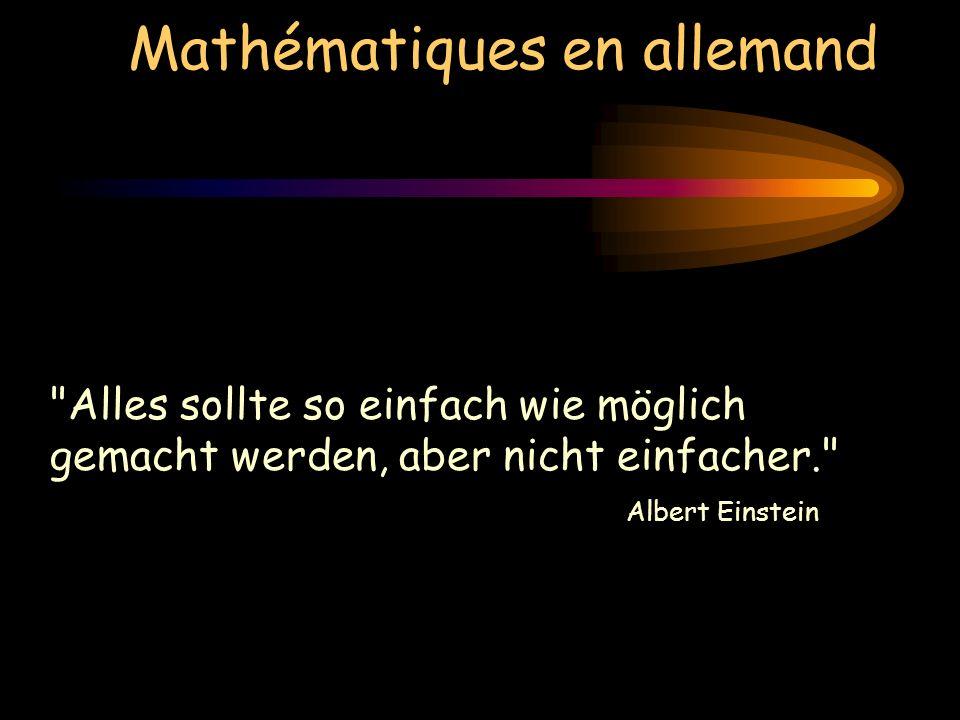 Mathématiques en allemand