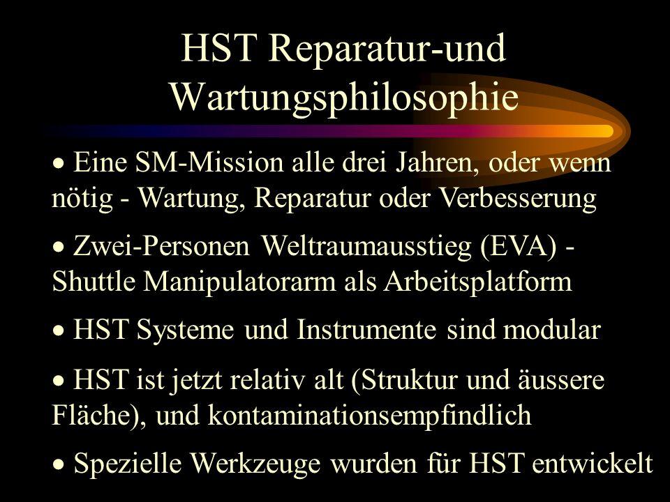 HST Reparatur-und Wartungsphilosophie Zwei-Personen Weltraumausstieg (EVA) - Shuttle Manipulatorarm als Arbeitsplatform HST Systeme und Instrumente sind modular HST ist jetzt relativ alt (Struktur und äussere Fläche), und kontaminationsempfindlich Spezielle Werkzeuge wurden für HST entwickelt Eine SM-Mission alle drei Jahren, oder wenn nötig - Wartung, Reparatur oder Verbesserung