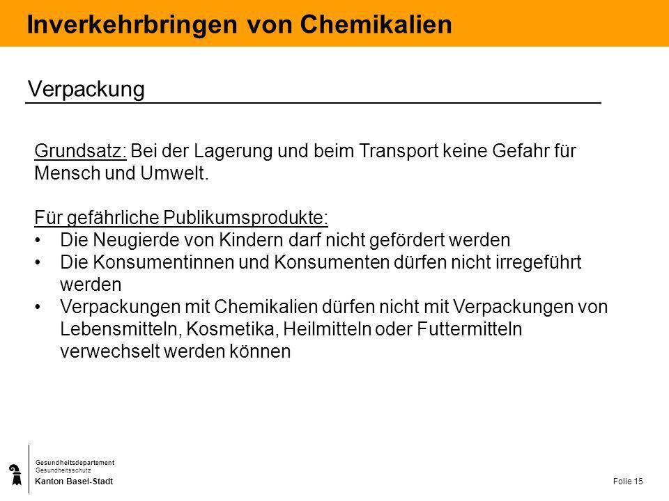 Kanton Basel-Stadt Gesundheitsdepartement Gesundheitsschutz Folie 16 Inverkehrbringen von Chemikalien Verpackung Kindersichere Verschlüsse: T, giftig C, ätzend Xn, gesundheitsschädlich mit R65 >1% Dichlormethan >3% Methanol Tastbare Gefahrenhinweise: T, giftig C, ätzend Xn, gesundheitsschädlich F +, hochentzündlichF, leicht entzündlich