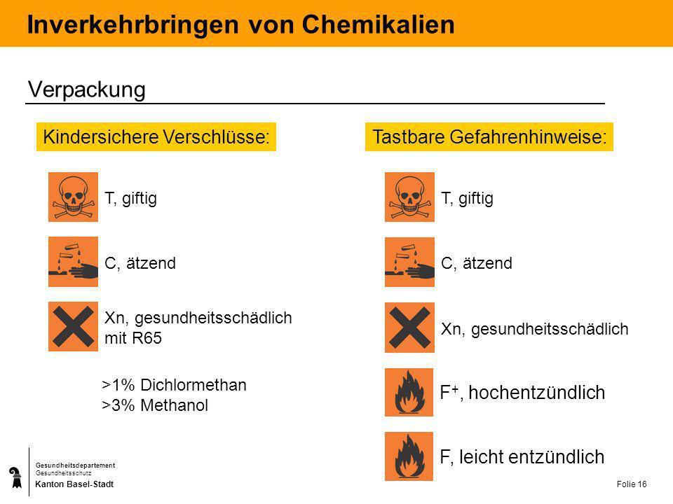 Kanton Basel-Stadt Gesundheitsdepartement Gesundheitsschutz Folie 17 Inverkehrbringen von Chemikalien Sicherheitsdatenblätter Sicherheitsdatenblätter müssen erstellt werden: Für gefährliche Stoffe und Zubereitungen Für Zubereitungen mit mehr als 1% bzw.