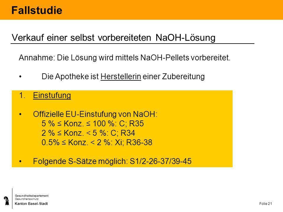 Kanton Basel-Stadt Gesundheitsdepartement Gesundheitsschutz Folie 22 Fallstudie 2.
