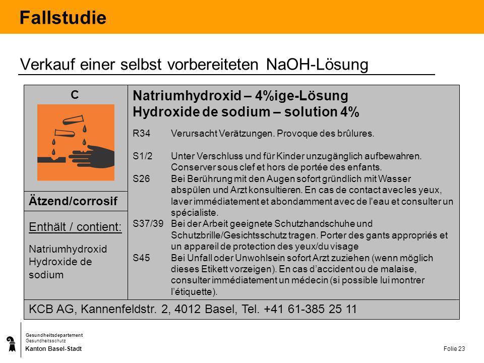 Kanton Basel-Stadt Gesundheitsdepartement Gesundheitsschutz Folie 24 Abgabebestimmungen Besonders gefährliche Stoffe und Zubereitungen E F mit den R-Sätzen R15 oder R17 (Reaktion mit Wasser unter Bildung hochentzündlicher Gase, Selbstentzündung an der Luft) T+T+ T C N mit dem R-Satz 50/53 (Sehr giftig für Wasserorganismen, kann in Gewässern längerfristig schädliche Wirkung haben) Chemikalien mit folgenden physikalisch- chemischen Eigenschaften: R1, R4, R5, R6, R16, R19, R44 (diverse Explosionsgefährlichkeiten) Chemikalien, die bestimmungsgemäss der Selbstverteidigung dienen Alte Produkte der Giftklasse 1 bis 3