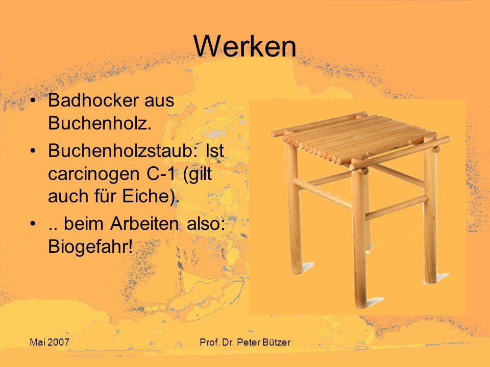 Mai 2007Prof.Dr. Peter Bützer Werken Figuren aus Speckstein Dieser Stein enthält oft Asbest!..