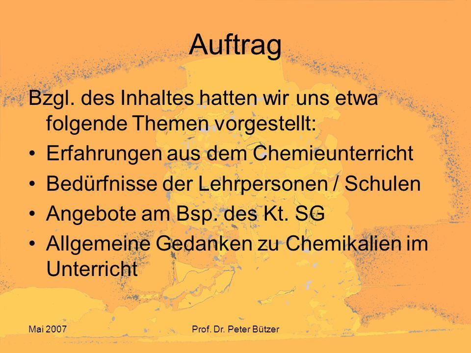 Mai 2007Prof. Dr. Peter Bützer Zu Punkt 1: Eine Erfahrung aus dem Chemieunterricht …