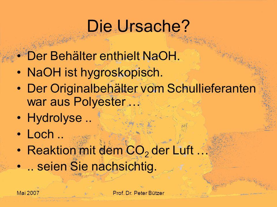 Mai 2007Prof.Dr. Peter Bützer Kennzeichnung Da lehren und lernen wir die Kennzeichnungen..