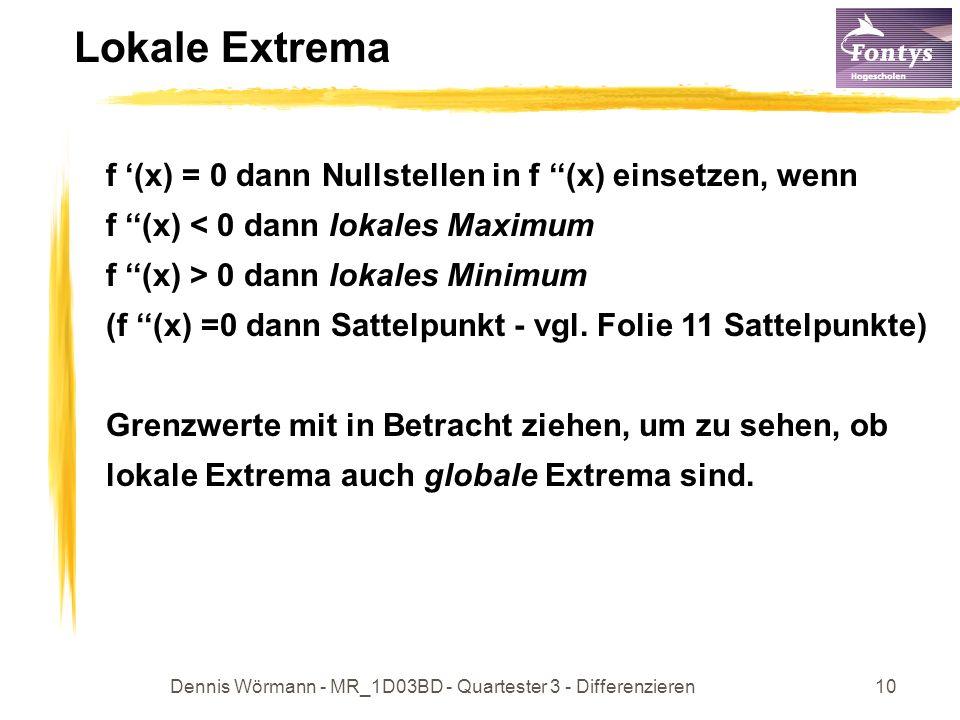 Dennis Wörmann - MR_1D03BD - Quartester 3 - Differenzieren11 Sattelpunkte Ist x eine Lösung der Gleichung f (x) = 0 und ist die Ableitung links und rechts von x ungleich 0 und hat in beiden Bereichen dasselbe Vorzeichen, so ist x eine Sattelstelle.