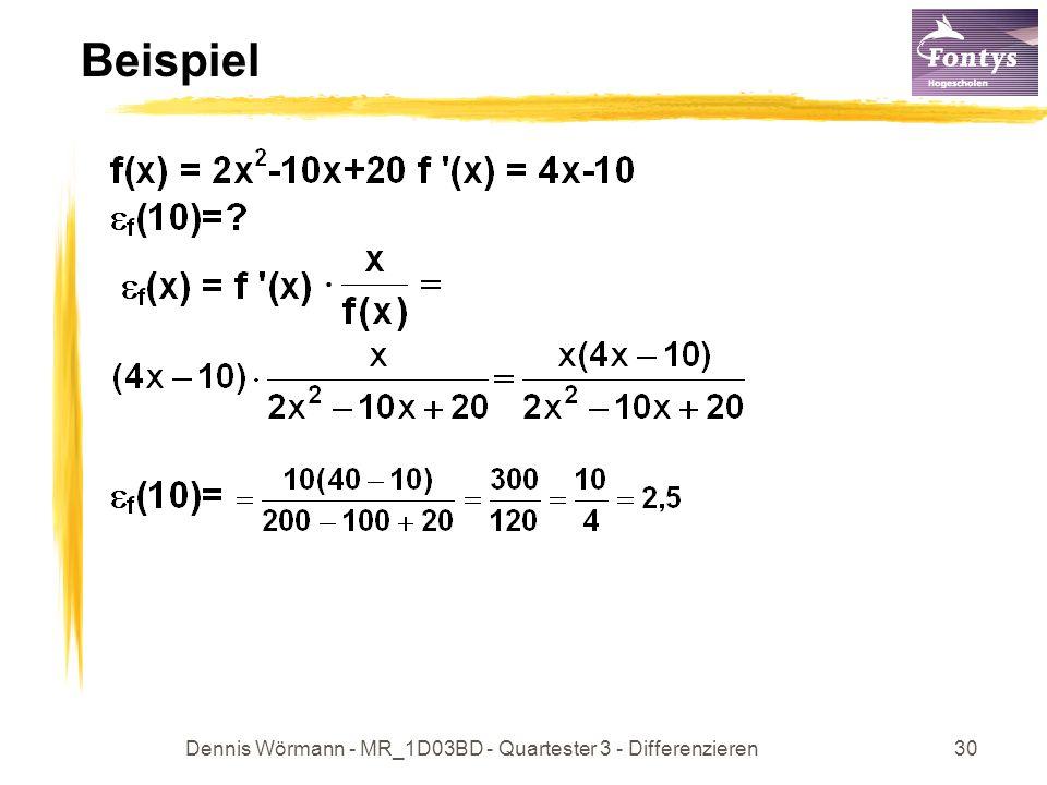 Dennis Wörmann - MR_1D03BD - Quartester 3 - Differenzieren31 Integralrechnung Ziel: 1) Umkehren des Differenzierens (unbestimmtes Integral) 2) Flächenberechnung (bestimmtes Integral) das unbestimmte Integral: Wenn F(x) Stammfunktion von f(x) ist, dann ist: f(x)dx = {F(x) + c} ; c R Menge aller Stammfkt.