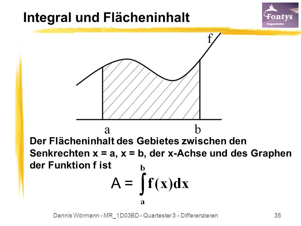 Dennis Wörmann - MR_1D03BD - Quartester 3 - Differenzieren36 Das bestimmte Integral mit a,b R wird ein bestimmte Integral genannt.