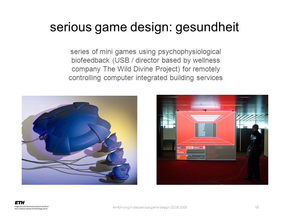 einführung in das serious game design, 02.05.2005 16 quelle: www.gamesforhealth.org serious game design: gesundheit