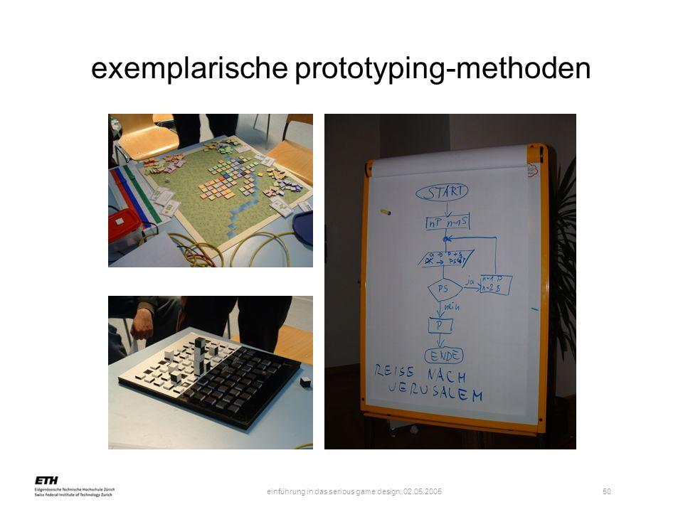 einführung in das serious game design, 02.05.2005 51 exemplarische prototyping-methoden das design-dokument spezifiziert in wort, bild (z.b.