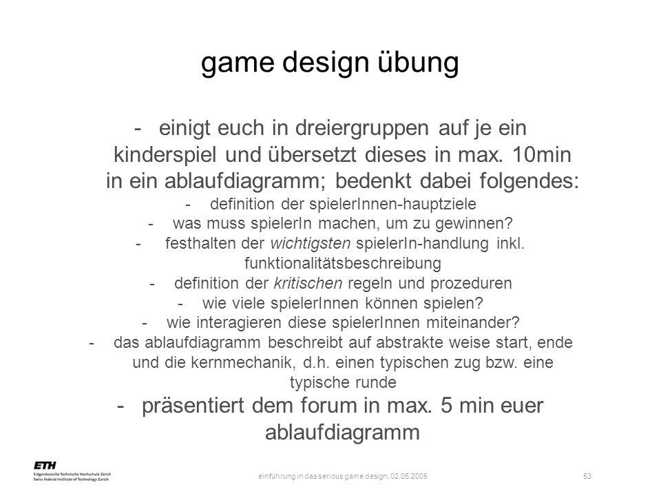 einführung in das serious game design, 02.05.2005 54 übung bis übernächste woche -denkt euch in euren gruppen einen konflikt aus -stellt bezüge her zwischen diesem konflikt und euren psych.