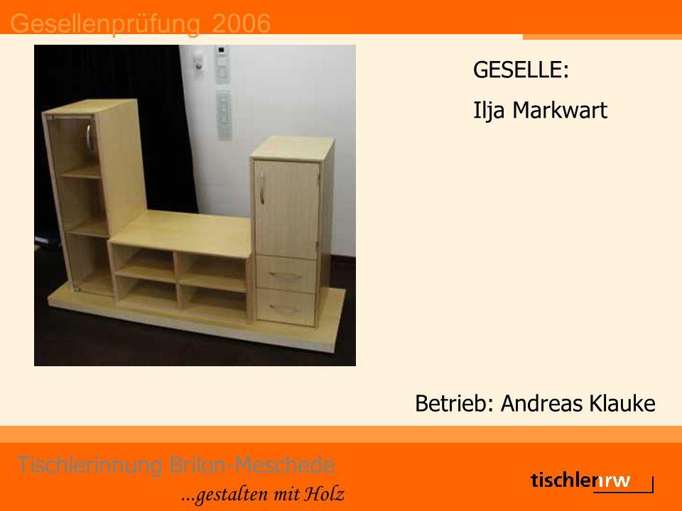 Gesellenprüfung 2006 Tischlerinnung Brilon-Meschede...gestalten mit Holz Betrieb: Thomas Quinkert e.K.
