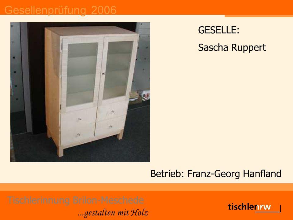 Gesellenprüfung 2006 Tischlerinnung Brilon-Meschede...gestalten mit Holz Betrieb: Thiele GESELLE: Andre Saßmannshausen
