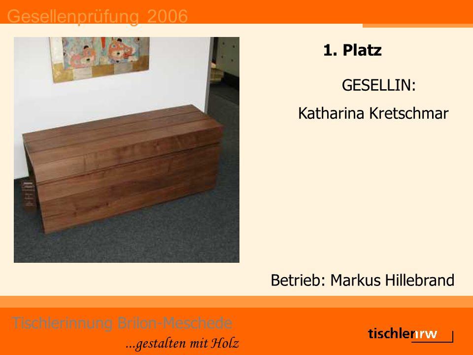 Gesellenprüfung 2006 Tischlerinnung Brilon-Meschede...gestalten mit Holz Die Gute Form