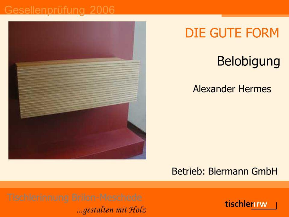 Gesellenprüfung 2006 Tischlerinnung Brilon-Meschede...gestalten mit Holz Betrieb: Christoph Hoffmann Nicolas Overhageböck DIE GUTE FORM 3.