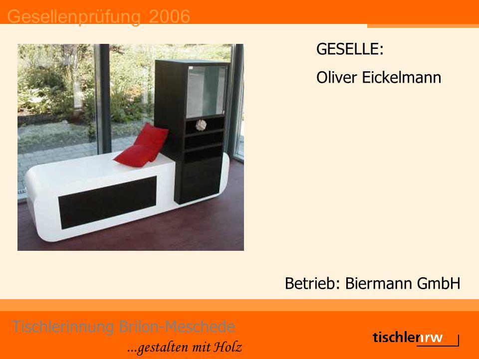 Gesellenprüfung 2006 Tischlerinnung Brilon-Meschede...gestalten mit Holz Betrieb: Johannes Vollmer GESELLE: Philipp Heller