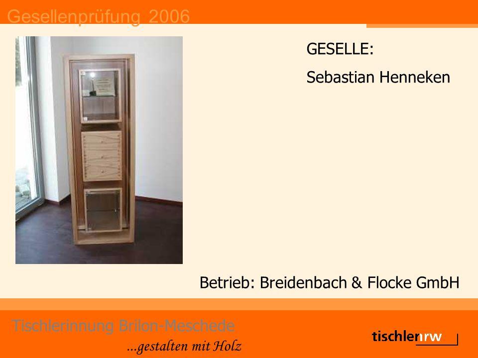 Gesellenprüfung 2006 Tischlerinnung Brilon-Meschede...gestalten mit Holz Betrieb: Biermann GmbH GESELLE: Alexander Hermes