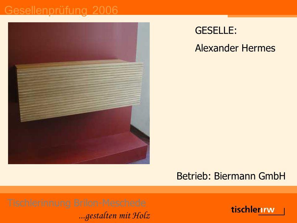 Gesellenprüfung 2006 Tischlerinnung Brilon-Meschede...gestalten mit Holz Betrieb: Jeken Fenster- und Türenbau GmbH GESELLE: Manuel Jeken