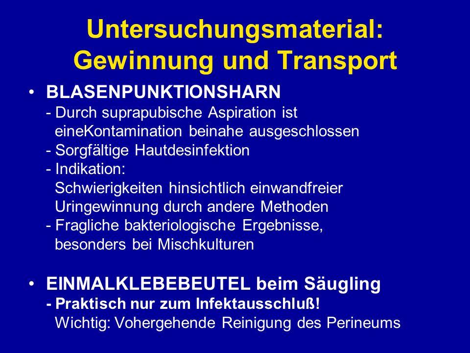 Untersuchungsmaterial: Gewinnung und Transport Der gewonnener Urin sollte binnen 2 Stunden im Labor sein, generell ist er kühl (4°C) zu lagern.