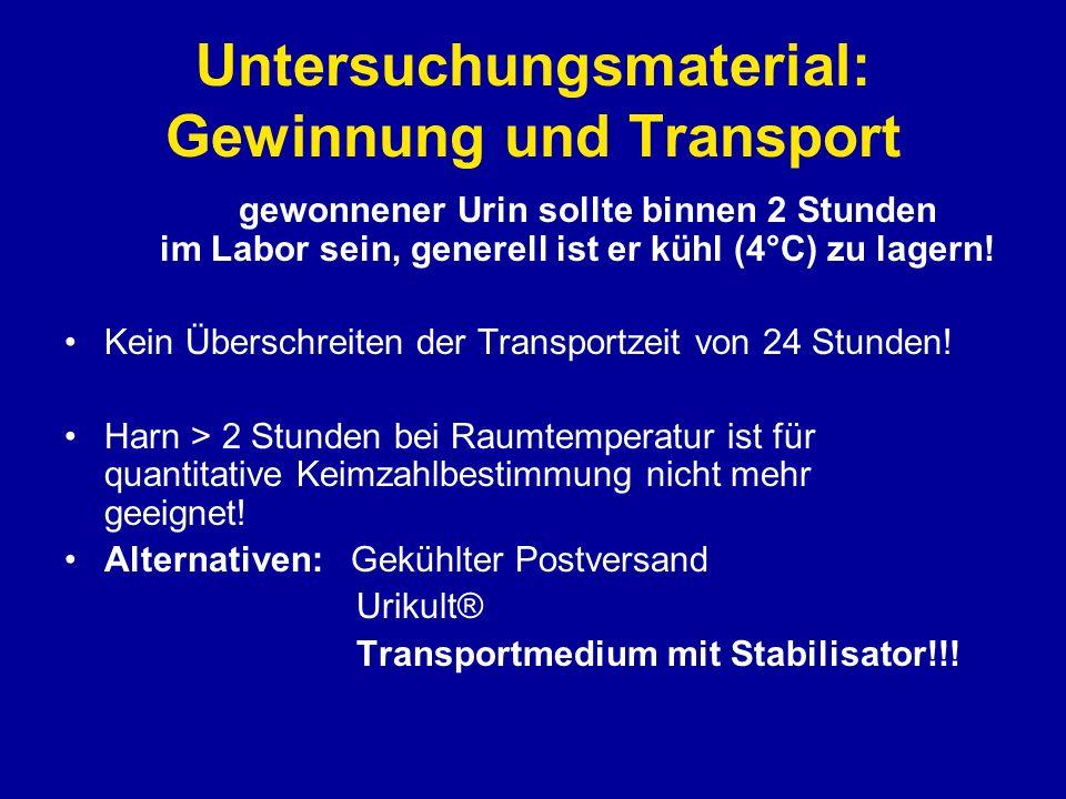 Untersuchungsmaterial: Gewinnung und Transport Grundsätzlich sollte wann immer möglich NATIVHARN zur bakteriologischen Untersuchung geschickt werden.