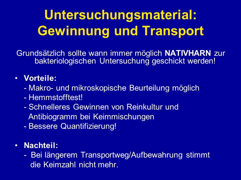 Untersuchungsmaterial: Gewinnung und Transport URICULT® (Urineintauchkultur) = Transportmedium - Sollte nur verwendet werden, wenn Transportzeiten/Temperatur nicht eingehalten werden können.