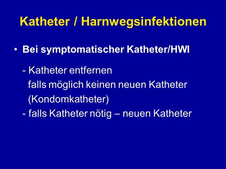 Katheter / Harnwegsinfektionen Vermeiden von Infektionen - keine Katheterpflege mittels Kochsalzspülung oder Perineumpflege - keine regelmässigen Katheterwechsel - keine AB-Prophylaxe - beschichtete Katheter verwenden - Katheter in Ruhe lassen