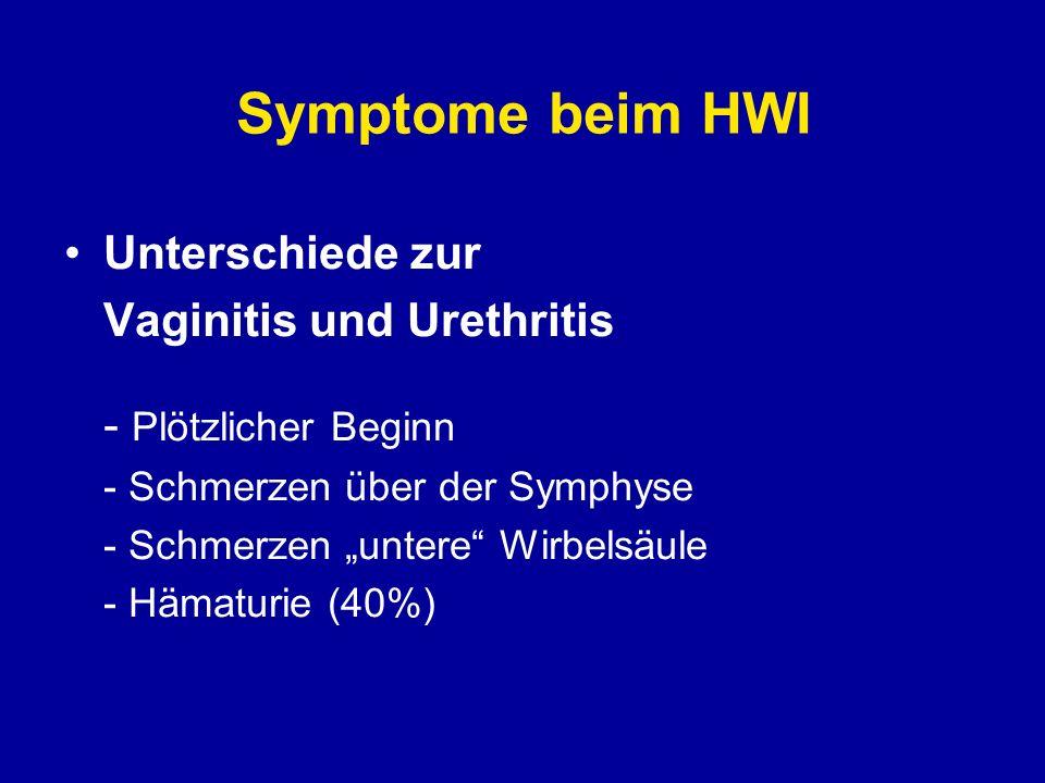 Diagnostik beim HWI Positiver Harnstreifen (Leukoz.