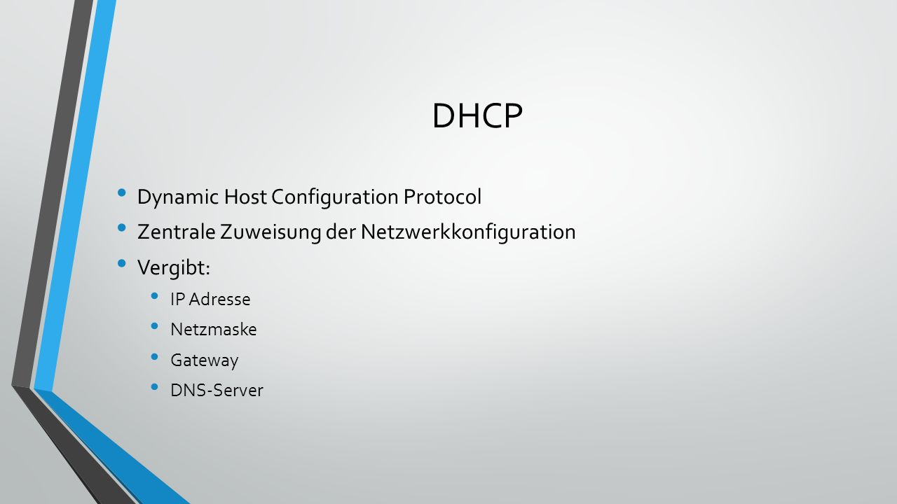 DNS Domain Name System Auflösen der Internet Namen / Domains in IP Adressen www.example.com 192.0.32.10 www.example.com Das DNS ist weltweit auf vielen tausend Servern verteilt.