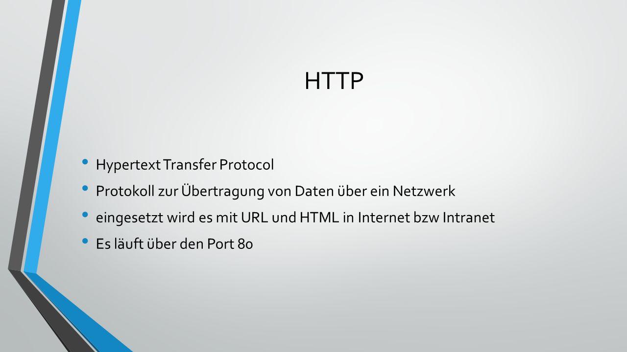 FTP File Transfer Protocol Datenübertragungsverfahren im Internet Es wird eine FTP Software benötigt Es läuft über den Port 21