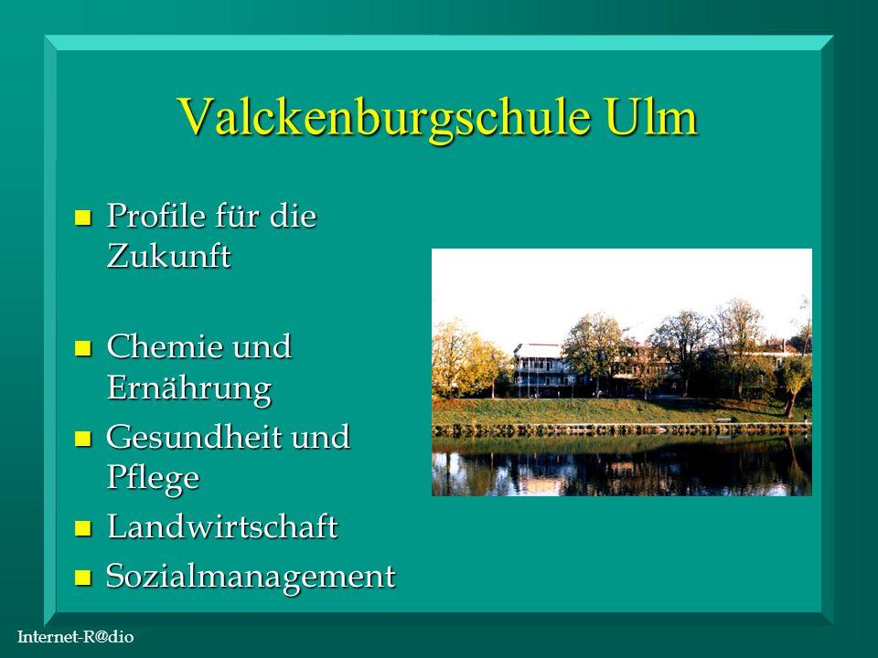 Internet-R@dio Projekt Homepage Internet-R@dio: http://www.uni-ulm.de/ schulen/bs/vbs/radio/