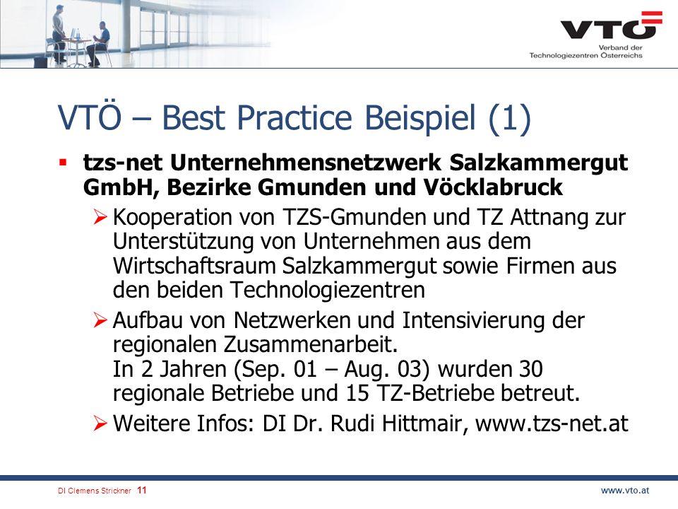 DI Clemens Strickner.12www.vto.at VTÖ – Best Practice Beispiel (2) NIMM im Weizer-Energie-Innovations- Zentrum (WEIZ) Kooperatives Projekt von vier österreichischen Impuls- und Koordinationszentren (GZSZ Fürstenfeld, WIKO Hartberg, Grüne Lagune Fehring) unter der Leitung des WEIZ.