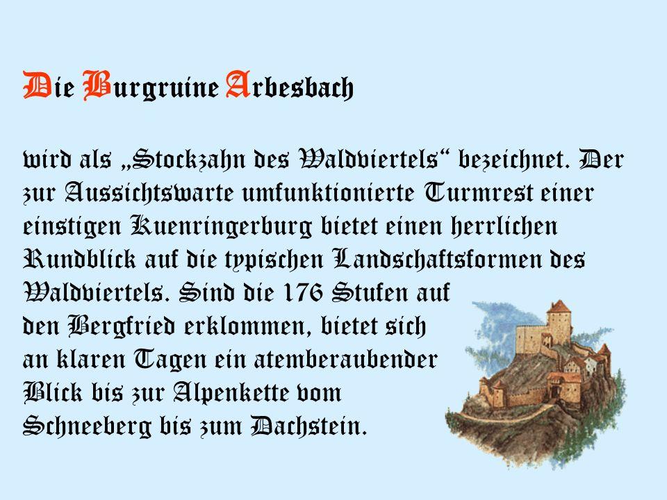 D ie B urgruine A rbesbach wird als Stockzahn des Waldviertels bezeichnet.