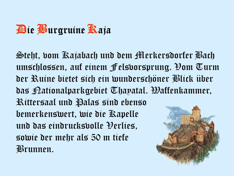 D ie B urgruine K aja Steht, vom Kajabach und dem Merkersdorfer Bach umschlossen, auf einem Felsvorsprung.
