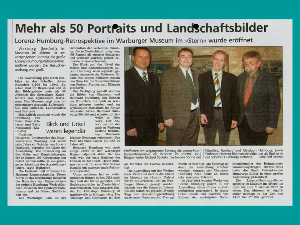 Der Blick und das Urteil Museum im Stern eröffnet große Lorenz-Humburg-Retrospektive VON SANDRA WAMERS Warburg.
