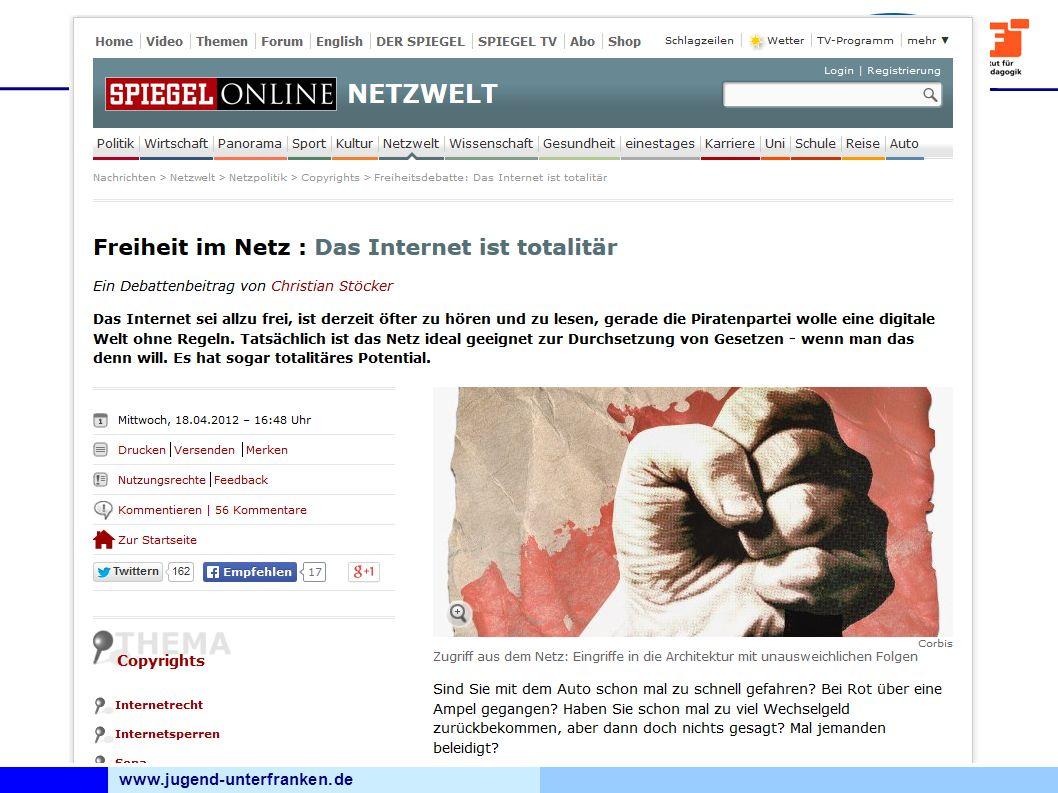 www.jugend-unterfranken.de Bezirksjugendring Unterfranken Medienfachberatung Ich habe doch nichts zu verbergen Beispiel Landtagswahl Hessen 90er Jahre Die CDU lässt eine Software programmieren, mit der sie gezielt Werbung verschicken kann.