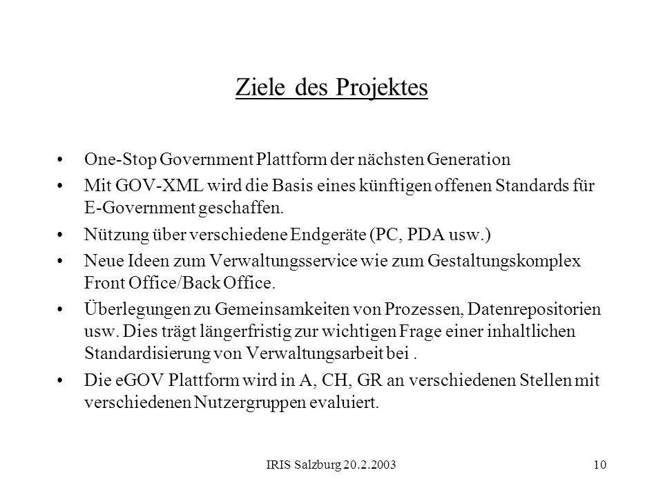 IRIS Salzburg 20.2.200311 Local Public Authority Local Service Repository Service Creation Environment System architecture: eGOV platform for online one-stop Government user Local Public Authority Local Service Repository Service Creation Environment Local Public Authority Local Service Repository Service Creation Environment National Public Authority Service Creation Environment National Service Repository Internet WAP/ GSM/UMTS Network One-Stop Government Portal global access point for citizens, businesses and authorities user...