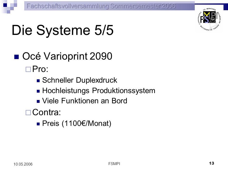 FSMPI 14 10.05.2006 Entscheidungsfindung Zu berücksichtigende Faktoren Entwicklung des Druckvolumens Eignung für unser Anforderungsprofil Wenig Grundlast mit großen Spitzen Personal