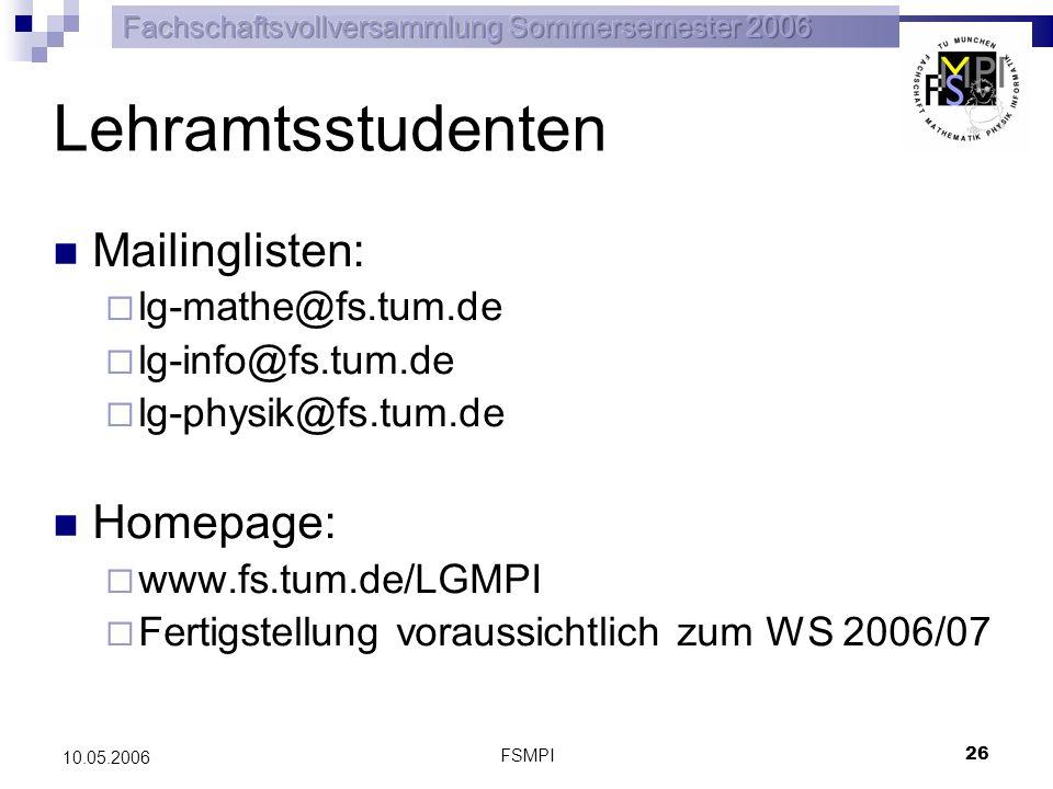 FSMPI 27 10.05.2006 Studentischer Lernraum Für studierende steht ab sofort ein Lernraum zur Verfügung Täglich, werktags von 14:00 bis 18:00 Raum: 00.10.033 SVV Die SVV (Studentenvollversammlung) findet am 23.05.2006 im MW2001 statt.