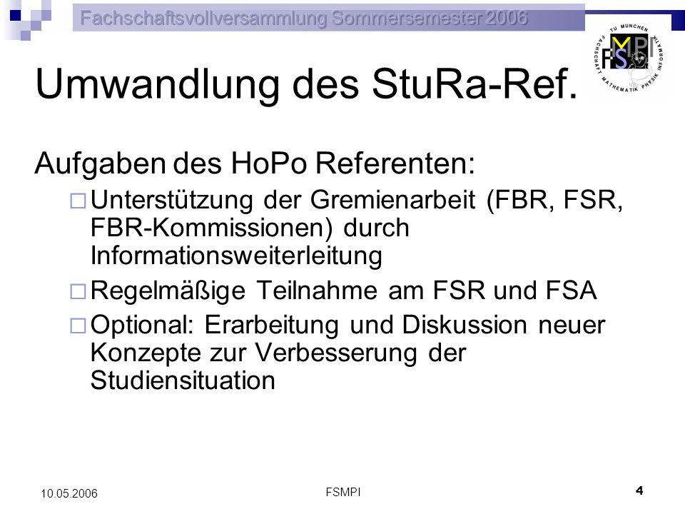 FSMPI 5 10.05.2006 Antrag: Die FVV möge beschließen: Das StuRa-Referat wird in ein Hochschulpolitikreferat (kurz: HoPo-Referat) überführt.