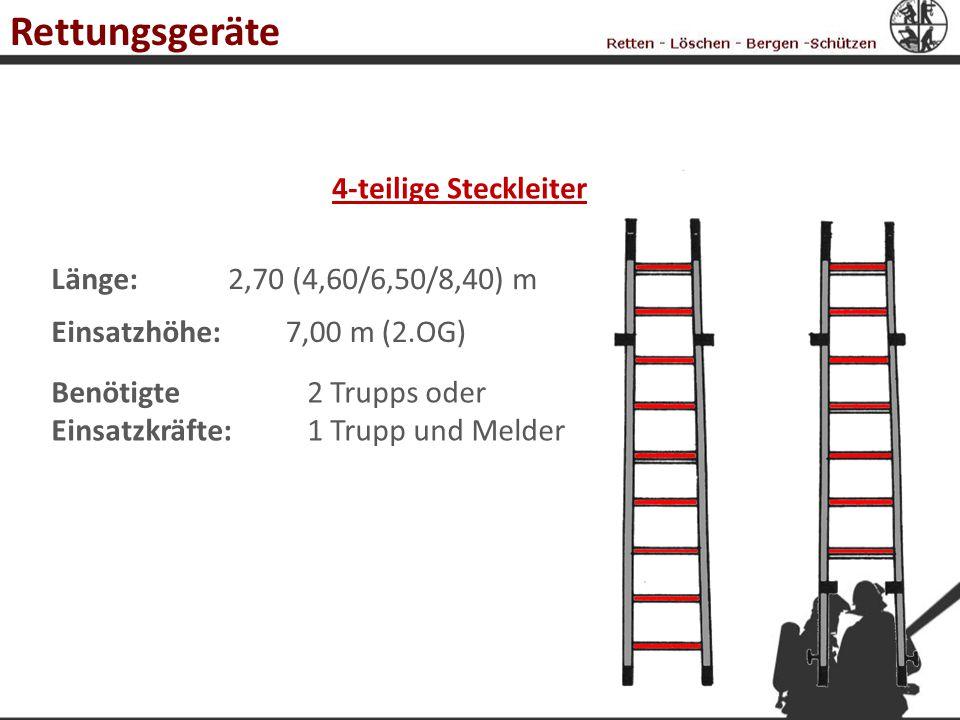 3-teilige Schiebleiter Länge:5,60 m (Transport), 14,00 m Einsatzhöhe:12,00 m (3.OG) Benötigte Einsatzkräfte: 2 Trupps Achtung: Im Freistand darf die Leiter nicht über den Stützstand hinaus bestiegen werden .