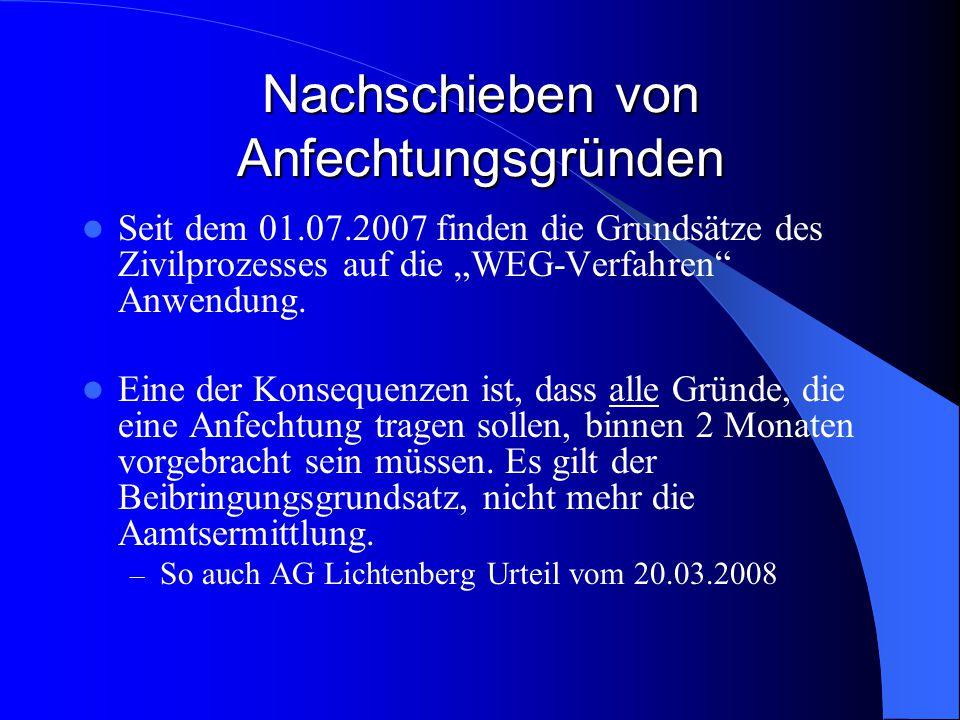 § 167 ZPO Anfechtungsklage geht am 06.11.2007 bei Gericht ein.